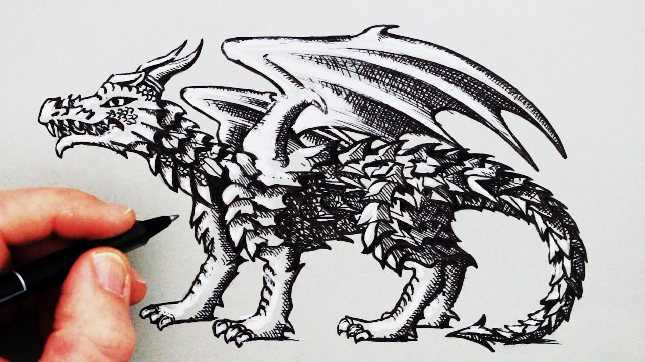 instructions to draw a dragon
