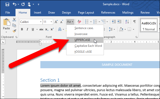 Microsoft word how to make all letter capital